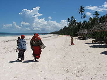 Zanzibar women walking the beach