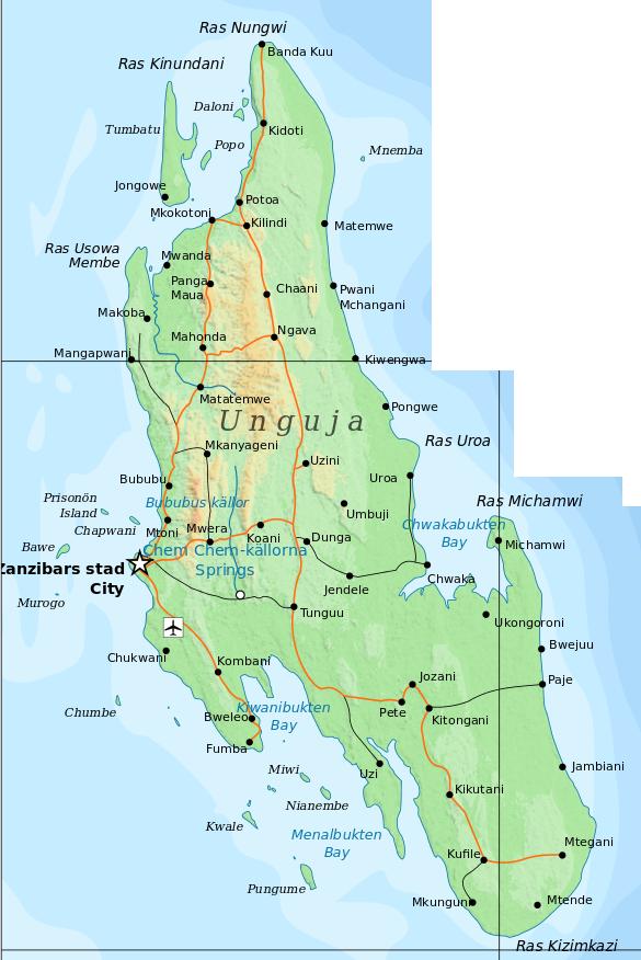 Zanzibars stränder på en karta