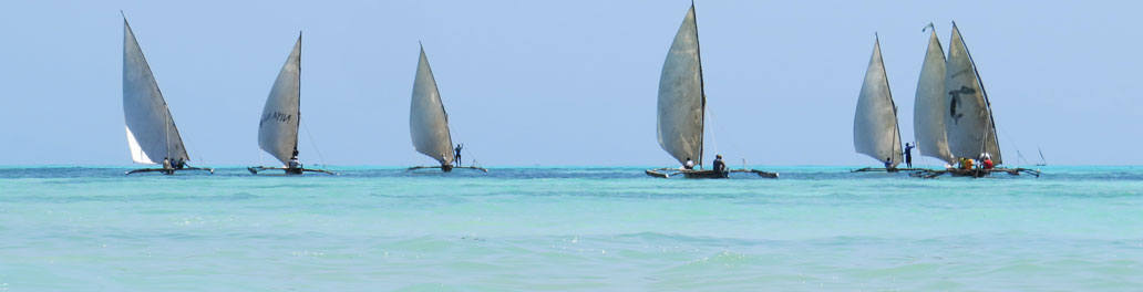 Segelbåtar vid horisonten på Zanzibar