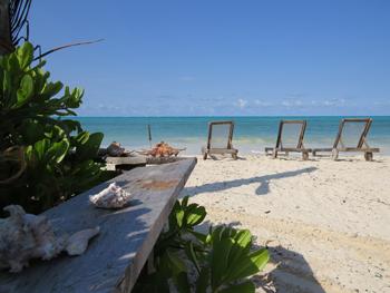 Sun beds on Jambiani Beach on the female Solo travel to Zanzibar