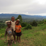 Children in front of Mount Rungwe