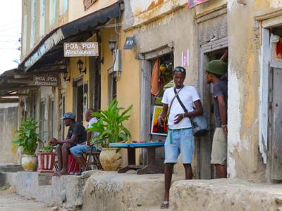 The street outside POa Poa Restaurant Bagamoyo
