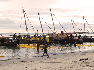 The harbor in Bagamoyo where goods to Zanzibar are being loaded