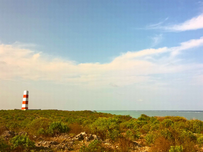 The red and white light house on the Southern tip of zanzibar