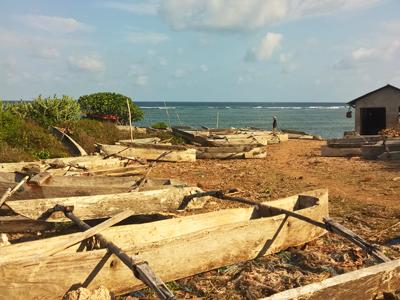 Ngarawa boats in the natura harbor in Makunduchi Zanzibar
